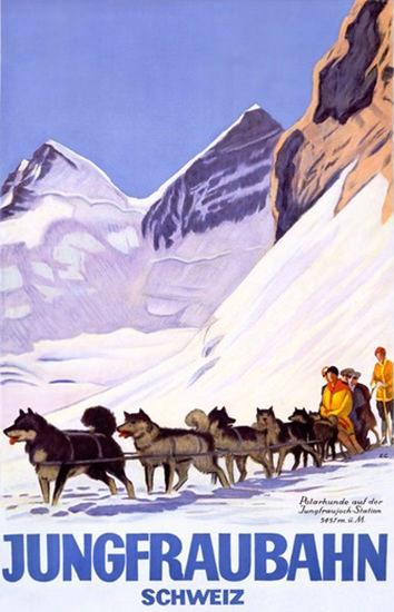 Jungfraubahn Schweiz Emil Cardinaux Sledge Dogs | Vintage Travel Posters 1891-1970