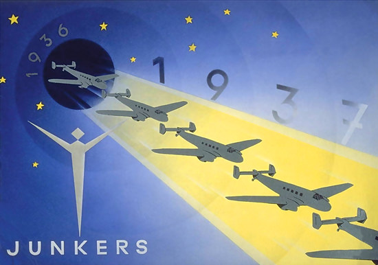 Junkers 1937 Airplanes Aircraft Stars Sky | Vintage Travel Posters 1891-1970