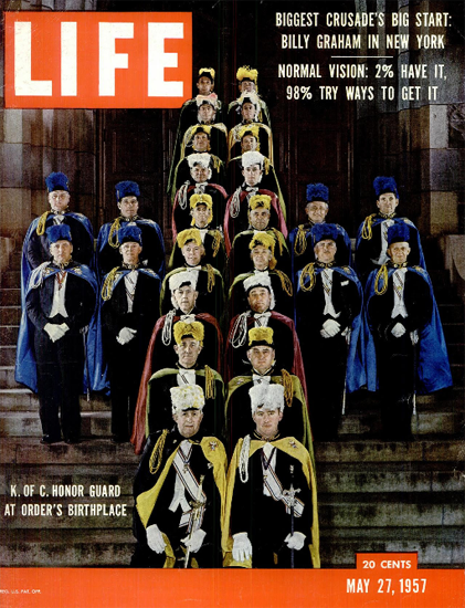 K of C Honor Guard in New Haven 27 May 1957 Copyright Life Magazine | Life Magazine Color Photo Covers 1937-1970