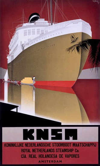 KNSM Royal Netherlands Steamship Amsterdam | Vintage Travel Posters 1891-1970