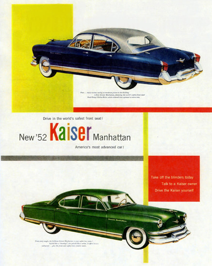 Kaiser Manhattan 1952 Worlds Safest Front Seat | Vintage Cars 1891-1970