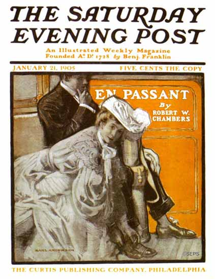 Karl Anderson Saturday Evening Post En Passant 1905_01_21 | The Saturday Evening Post Graphic Art Covers 1892-1930