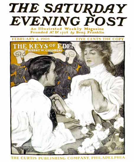Karl Anderson Saturday Evening Post The Keys of Eden 1905_02_04 | The Saturday Evening Post Graphic Art Covers 1892-1930