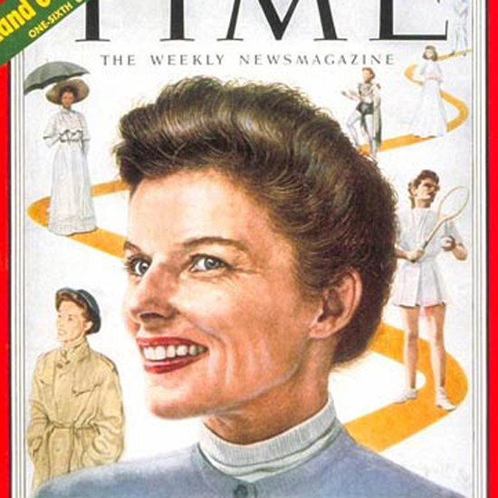 Katharine Hepburn Time Magazine 1952-09 by Boris Chaliapin crop | Best of Vintage Cover Art 1900-1970