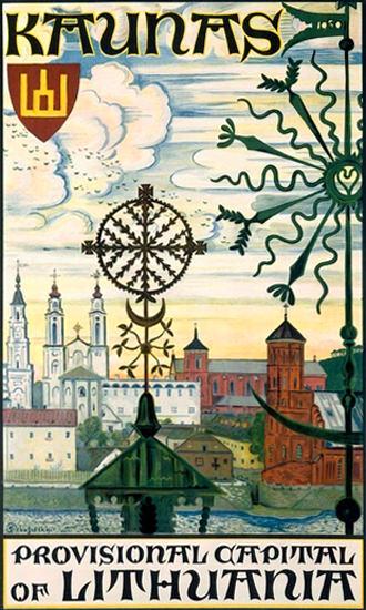 Kaunas Provisional Capital Of Lithuania   Vintage Travel Posters 1891-1970