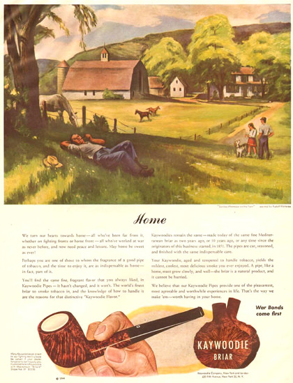 Kaywoodie Briar Sunday Afternoon Farm 1944 | Vintage Ad and Cover Art 1891-1970