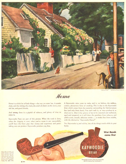 Kaywoodie Briar Talking It Over R Wetterau 1944 | Vintage Ad and Cover Art 1891-1970