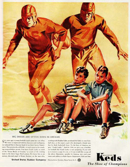 Keds The Shoe Of Champions Football Dreams | Vintage Ad and Cover Art 1891-1970
