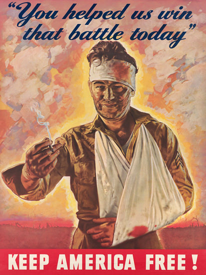 Keep America Free You Helped Us Win Battle   Vintage War Propaganda Posters 1891-1970