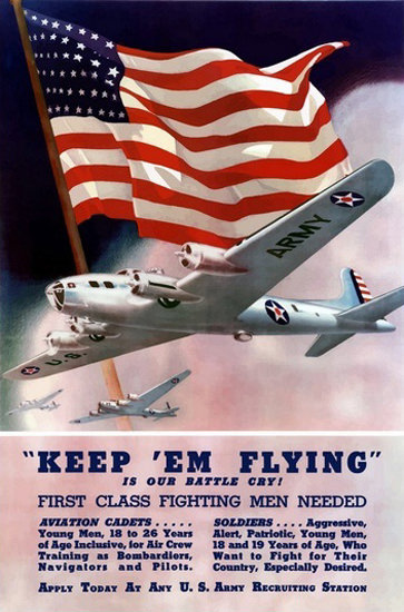 Keep Em Flying Its Our Battle Cry Men Needed | Vintage War Propaganda Posters 1891-1970