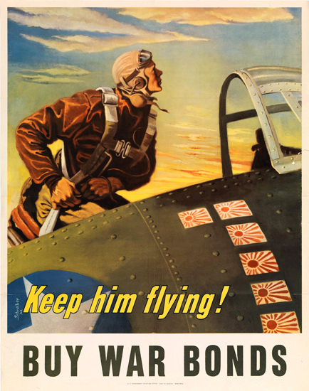 Keep Him Flying US Fighter With Jap Stickers | Vintage War Propaganda Posters 1891-1970