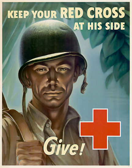 Keep Our Red Cross On His Side Give Soldier | Vintage War Propaganda Posters 1891-1970