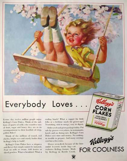 Kelloggs Blooming Spring Swing Girl | Vintage Ad and Cover Art 1891-1970