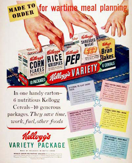 Kelloggs Cereals 1943 Variety Package | Vintage Ad and Cover Art 1891-1970