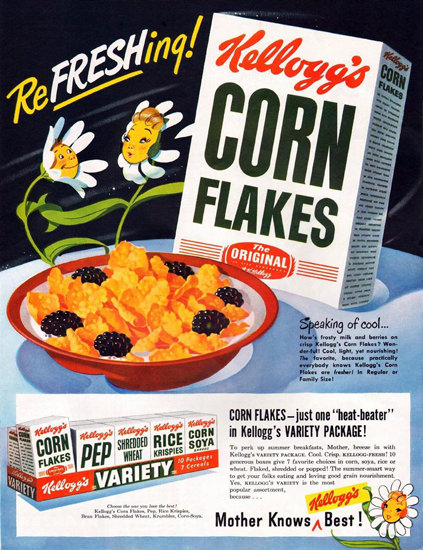Kelloggs Corn Flaces Variety Package 1949 | Vintage Ad and Cover Art 1891-1970