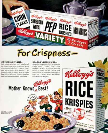 Kelloggs Rice Krispies 1948 Mother Knows Best | Vintage Ad and Cover Art 1891-1970