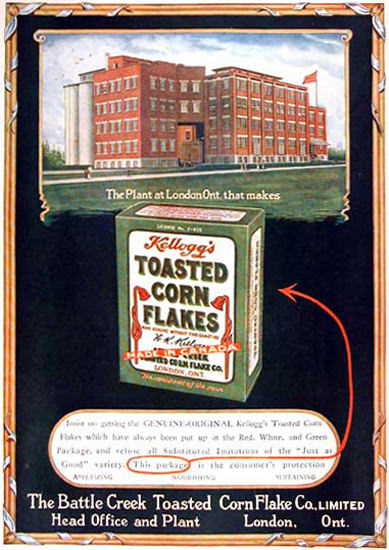 Kelloggs Toasted Corn Flakes Canada 1919 | Vintage Ad and Cover Art 1891-1970