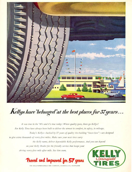 Kelly Springfield Tires 1951 Harbor | Vintage Ad and Cover Art 1891-1970