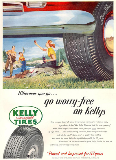 Kelly Springfield Tires 1951 In The Mountains | Vintage Ad and Cover Art 1891-1970