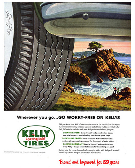 Kelly Springfield Tires 1952 By The Sea | Vintage Ad and Cover Art 1891-1970