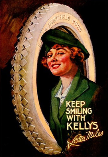Kelly Springfield Tires Smiling Lotta Miles 1919 | Sex Appeal Vintage Ads and Covers 1891-1970