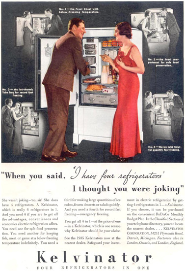 Kelvinator Four Refrigerators In One 1935 | Sex Appeal Vintage Ads and Covers 1891-1970