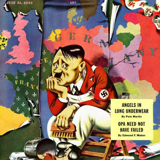 Ken Stuart Saturday Evening Post Hitler 1943_07_31 Copyright crop   Best of Vintage Cover Art 1900-1970