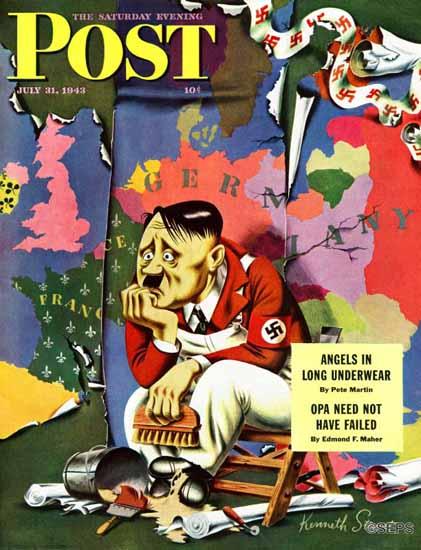 Ken Stuart Saturday Evening Post Hitler as Wallpaperer 1943_07_31 | The Saturday Evening Post Graphic Art Covers 1931-1969