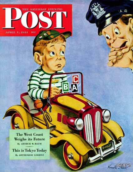Ken Stuart Saturday Evening Post Kiddie Car with Stickers 1944_04_01 | The Saturday Evening Post Graphic Art Covers 1931-1969