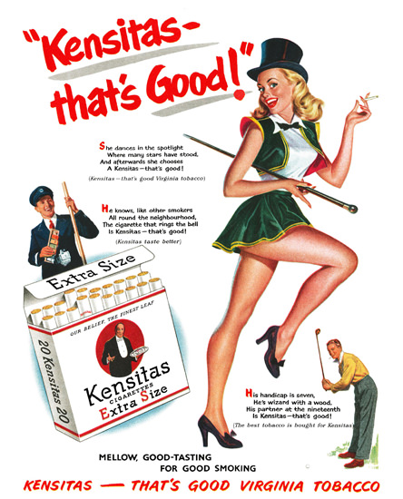 Kensitas Girl Cigarettes Good Virginia Tobacco | Sex Appeal Vintage Ads and Covers 1891-1970