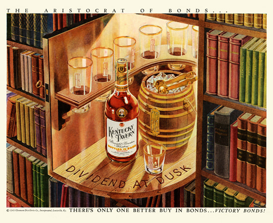 Kentucky Tavern Dividend At Dusk 1945   Vintage Ad and Cover Art 1891-1970