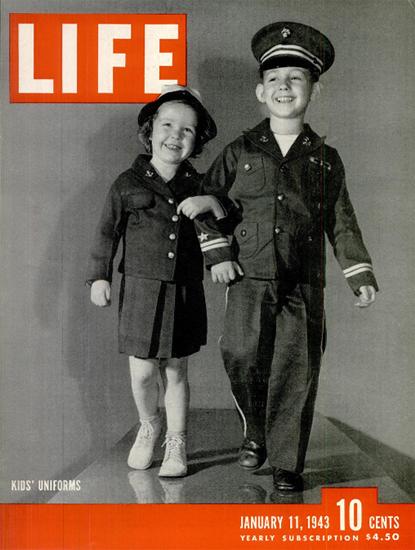 Kids Uniforms 11 Jan 1943 Copyright Life Magazine | Life Magazine BW Photo Covers 1936-1970
