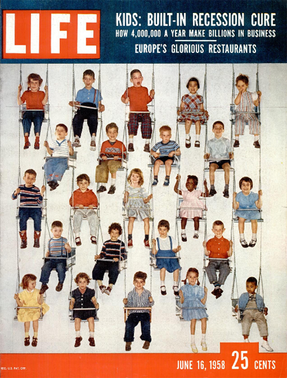 Kids are built-in Recession Cure 16 Jun 1958 Copyright Life Magazine | Life Magazine Color Photo Covers 1937-1970