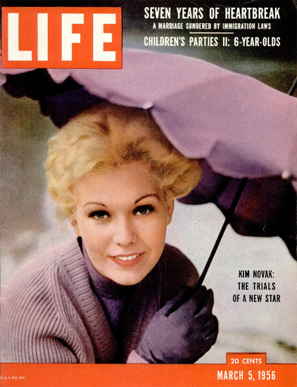 Kim Novak The Trials of a new Star 5 Mar 1956 Copyright Life Magazine | Life Magazine Color Photo Covers 1937-1970