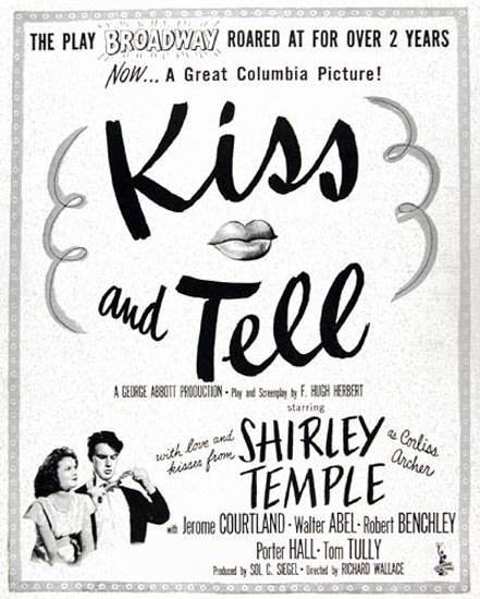 Kiss And Tell Movie 1945 Shirley Temple | Sex Appeal Vintage Ads and Covers 1891-1970