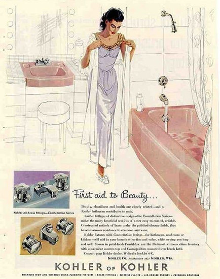 Kohler Bathroom First Aid To Beauty | Sex Appeal Vintage Ads and Covers 1891-1970