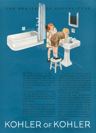 Kohler Of Kohler Bathroom Shrine Of Cleanliness   Vintage Ad and Cover Art 1891-1970