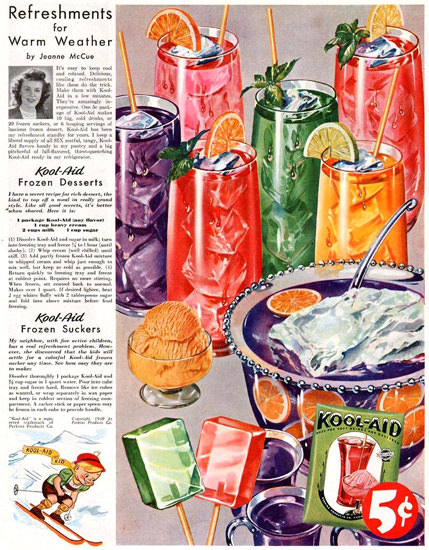 Kool-Aid Frozen Suckers By Jeanne McCue 1949 | Vintage Ad and Cover Art 1891-1970