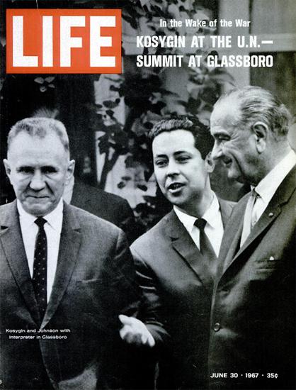 Kosygin and Johnson at UN Summit 30 Jun 1967 Copyright Life Magazine | Life Magazine BW Photo Covers 1936-1970