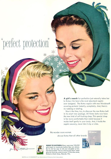 Kotex Girls Perfect Protection 1958 | Vintage Ad and Cover Art 1891-1970