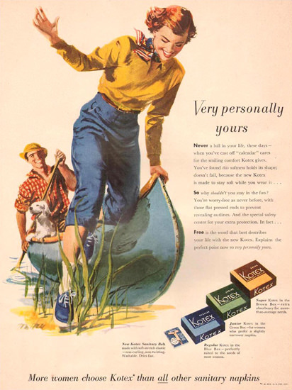 Kotex Very Personally Yours Canoe 1951 | Vintage Ad and Cover Art 1891-1970