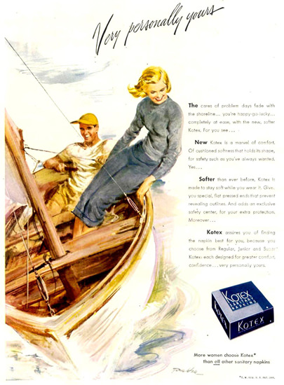 Kotex Very Personally Yours Sailing 1948 | Sex Appeal Vintage Ads and Covers 1891-1970