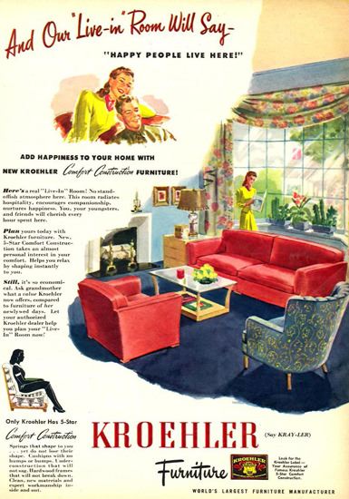 Kroehler Furniture Living Room 1945 | Vintage Ad and Cover Art 1891-1970