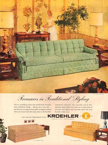 Kroehler Furniture Living Room 1959 | Vintage Ad and Cover Art 1891-1970