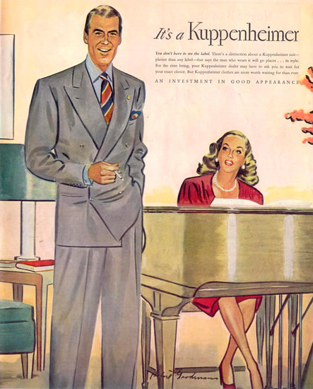 Kuppenheimer Suit Piano 1945 | Sex Appeal Vintage Ads and Covers 1891-1970
