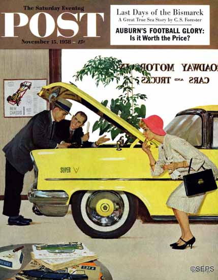 Kurt Ard Saturday Evening Post Checking it Out 1958_11_15 | The Saturday Evening Post Graphic Art Covers 1931-1969