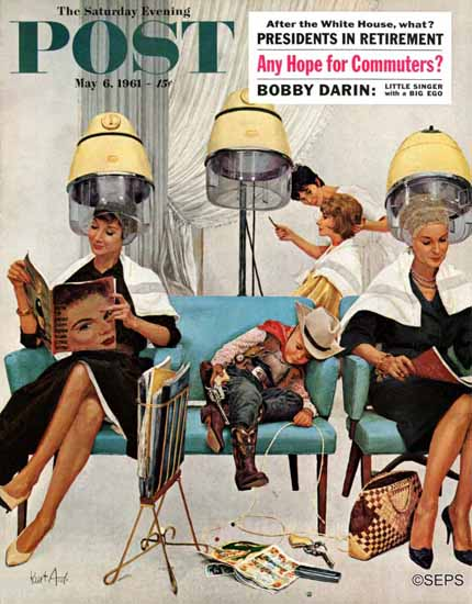 Kurt Ard Saturday Evening Post Cowboy Asleep Beauty Salon 1961_05_06 | The Saturday Evening Post Graphic Art Covers 1931-1969