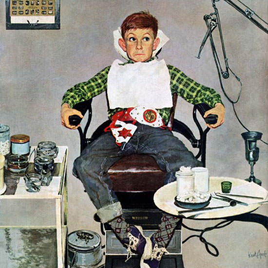 Kurt Ard Saturday Evening Post Dentists Chair 1957_10_19 Copyright crop | Best of Vintage Cover Art 1900-1970