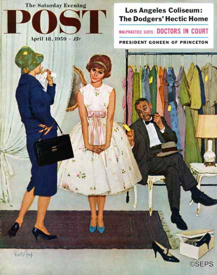 Kurt Ard Saturday Evening Post First Prom Dress 1959_04_18 | The Saturday Evening Post Graphic Art Covers 1931-1969