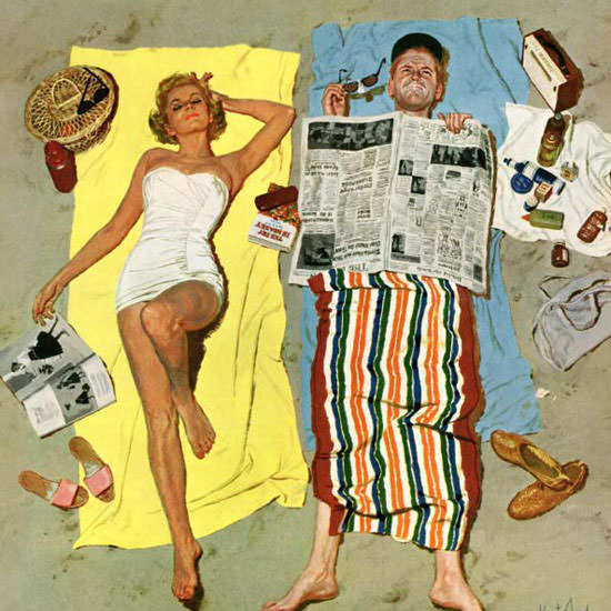 Kurt Ard Saturday Evening Post Sunscreen 1958_08_16 Copyright crop | Best of Vintage Cover Art 1900-1970